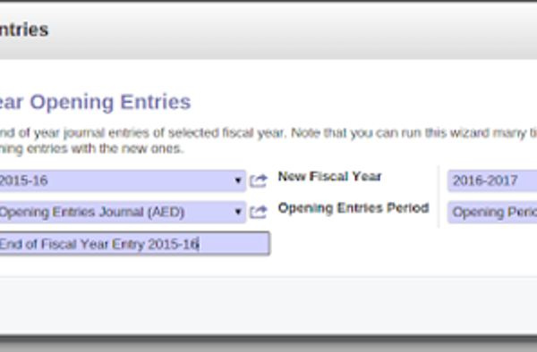 "How to create an ""Opening Balance"" for a new financial year in Odoo"